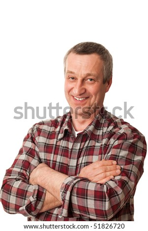 senior man isolated on white background with crossed arms - stock photo