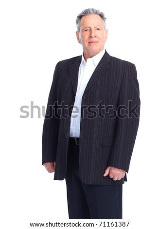 senior  man. Isolated over white background - stock photo