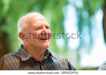 Senior man outdoors - stock photo