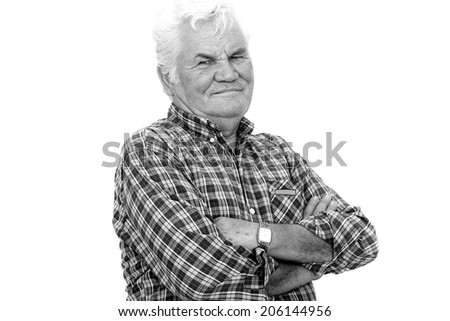 Senior Man Portrait with Arms Crossed - stock photo