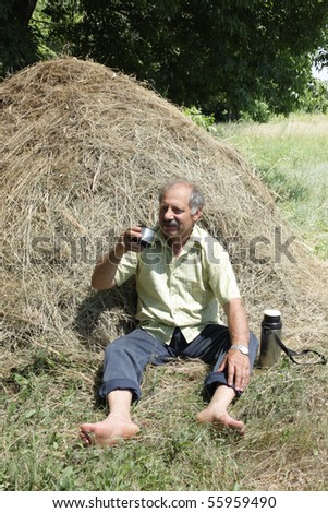 Senior man resting in a haystack