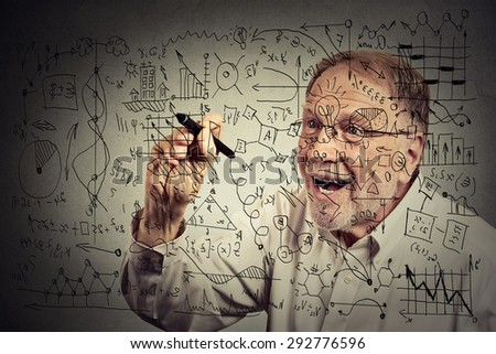 Senior man scientist with glasses writing secret formula with pen  - stock photo