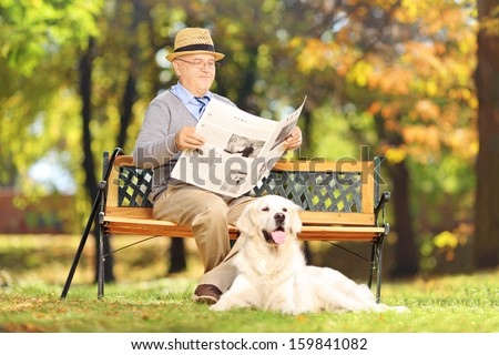 Senior man seated on a wooden bench reading a newspaper with his dog, in a park - stock photo