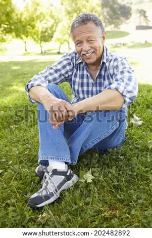 Senior  man sitting in park - stock photo