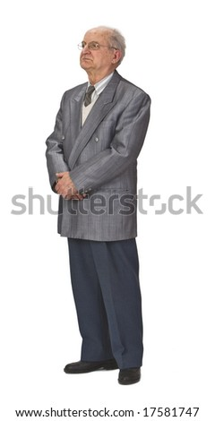 Senior man  standing-up against a white background.