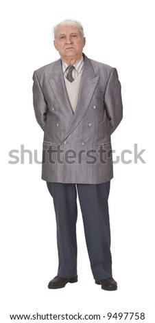 Senior man standing up against a white background.