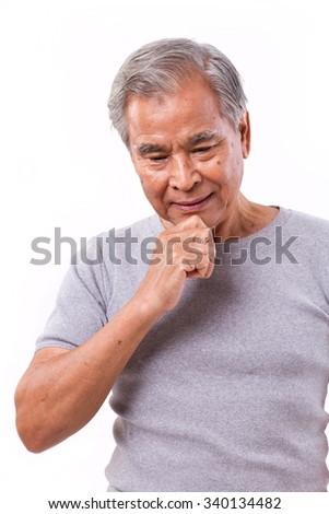 senior man thinking - stock photo