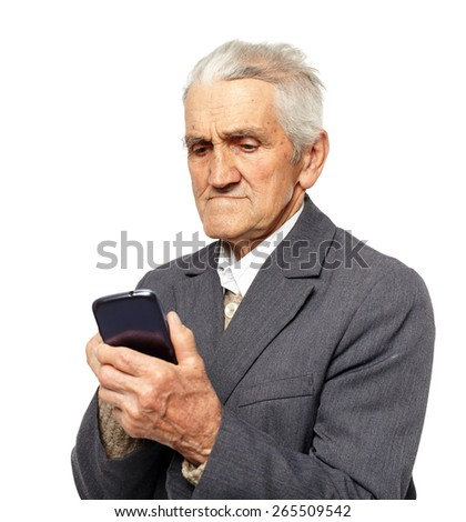 Senior man using a smartphone isolated on white background - stock photo