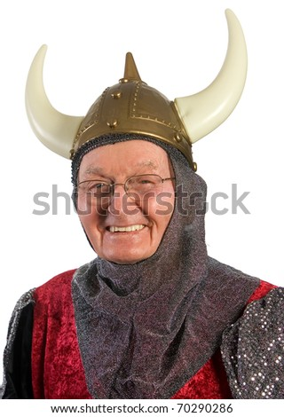 Senior man wearing Medieval Halloween costume. Shot against white background. - stock photo