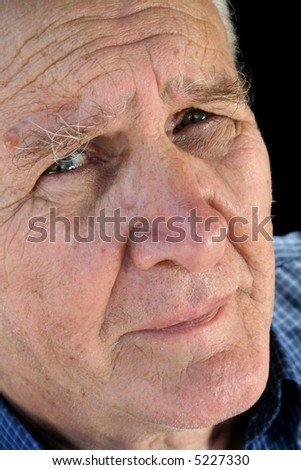 Senior man with a worried and concerned look. - stock photo