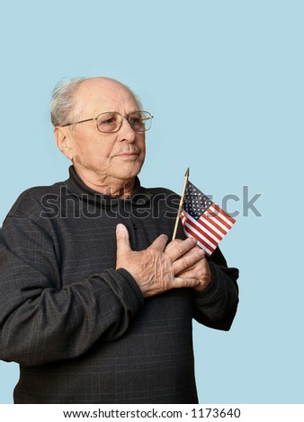 Senior man with american flag isolated - stock photo