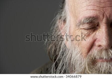 Senior Man With Long Beard - stock photo