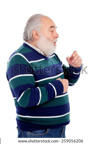 Senior man with white beard coughing isolated on background - stock photo