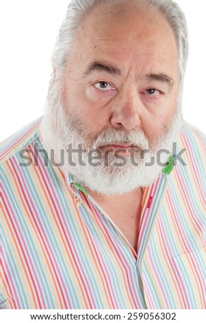 Senior man with white beard looking up isolated on background
