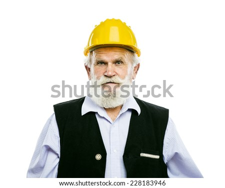 Senior manual worker with yellow helmet isolated over white background - stock photo