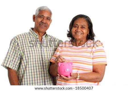 Senior Minority Couple Set On A White Background - stock photo