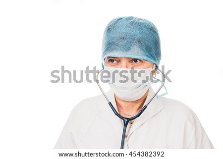Senior nurse wearing protection equipment - isolated on white background