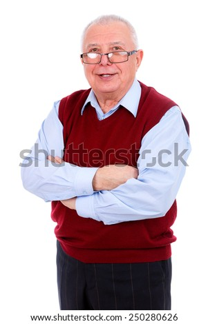 Senior Old man in the glasses With Arms Crossed isolated against white - stock photo