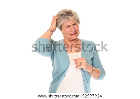 Senior older woman isolated on white scratching head - stock photo