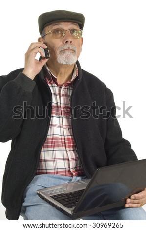 senior phoning with laptop computer isolated on white background - stock photo