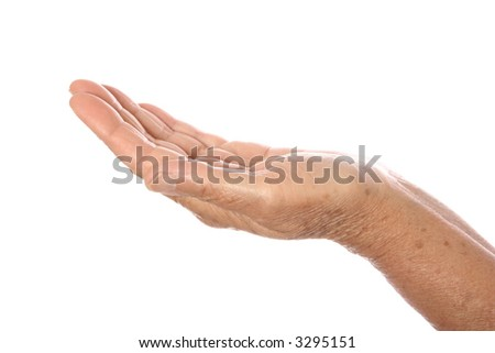 Senior's hand with palm facing upwards, isolated on white. - stock photo