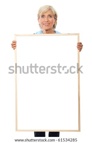 Senior smiling business woman hold a blank placard  isolated on white background - stock photo