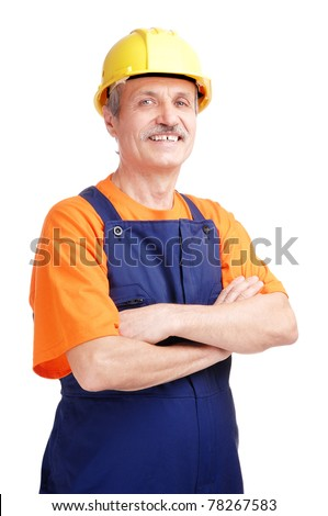 Senior smiling constructor on white background