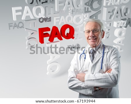 senior white doctor and 3d faq background - stock photo
