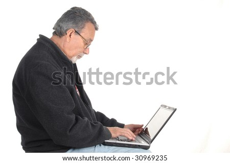 senior with laptop computer isolated on white background