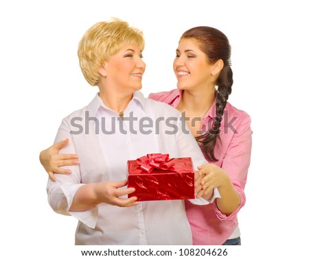 Senior woman and her daughter isolated - stock photo