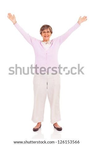 senior woman arms up isolated on white background - stock photo
