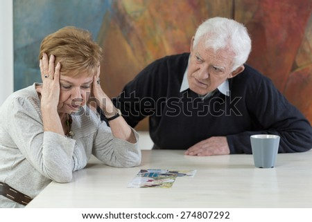 Senior woman broken down because of her husband betrayal - stock photo
