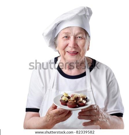 Senior woman cook - stock photo