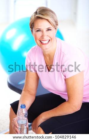 Senior woman doing yoga. Healthy lifestyle. - stock photo