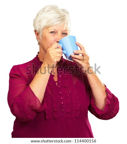 Senior Woman Drinking From Cup Isolated On White Background - stock photo