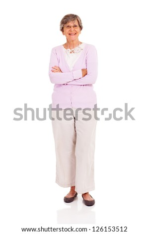 senior woman full length portrait on white background - stock photo