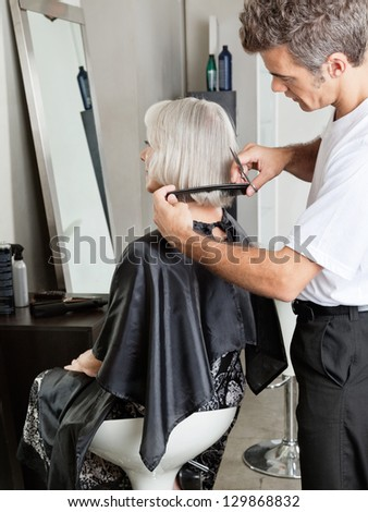 Senior woman getting her hair cut in beauty parlor - stock photo