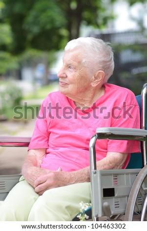 Senior Woman in a Wheelchair - stock photo