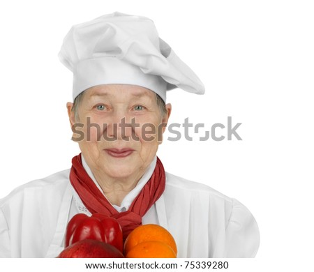 Senior woman in chef hat isolated on white background - stock photo