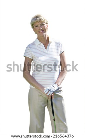 senior woman leaning on golf club, cut out