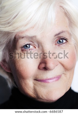 Senior woman portrait close-up - stock photo