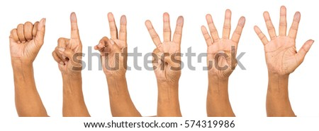 Senior woman's children hand counting number one to five isolated on white background