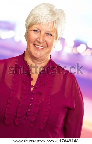 Senior Woman Smiling, Outdoor - stock photo