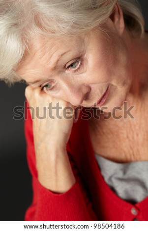 Senior woman suffering from depression - stock photo