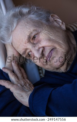 senior woman thinking - stock photo