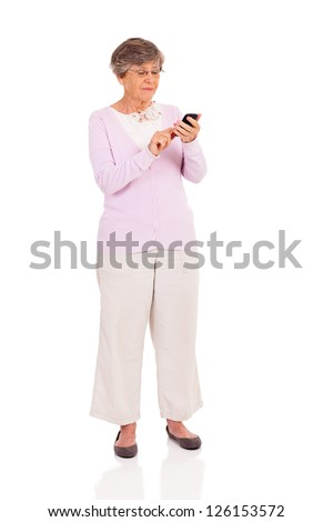 senior woman using smart phone isolated on white - stock photo
