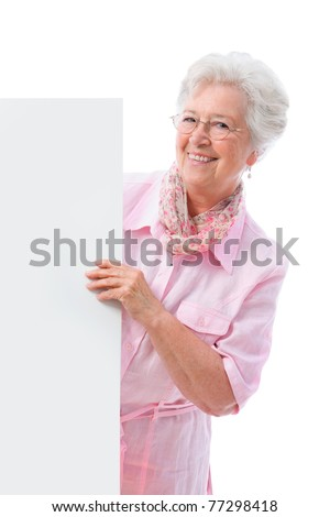senior  woman with a cardboard - stock photo