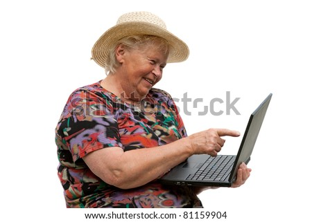Senior woman with a computer on white background - stock photo