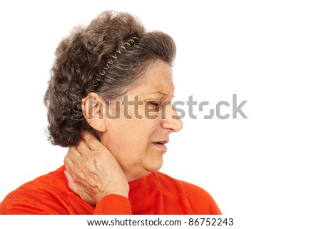 Senior woman with back neck pain isolated on white background - stock photo