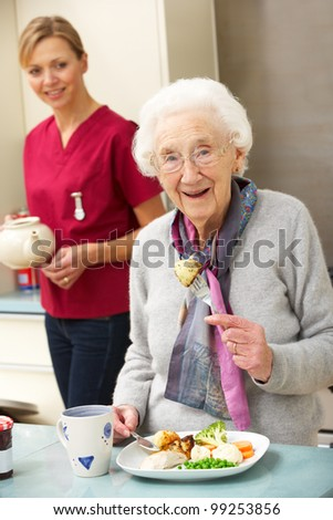 Senior woman with carer eating meal at home - stock photo
